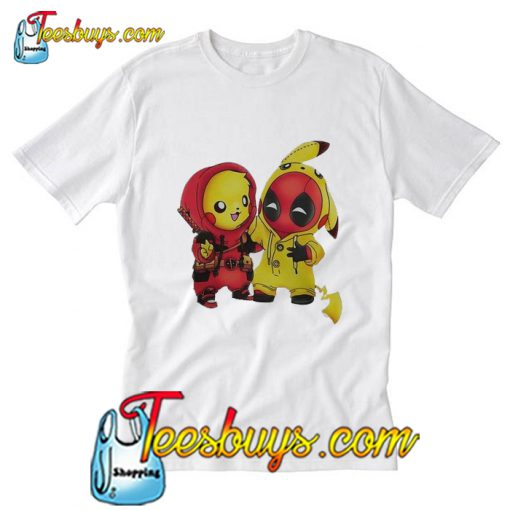 Pikapool Pikachu Pokemon and Deadpool T-Shirt