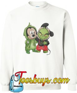 Wake The Baby Mickey Mouse And Baby Grinch Sweatshirt
