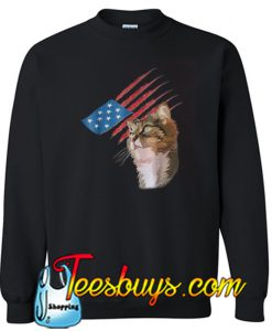 4th Of July Patriotic American Cat Sweatshirt NT