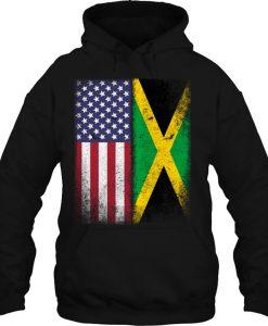 Jamaican Flag American Flag HOODIE NT